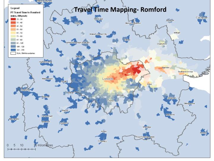Travel Time Mapping- Romford