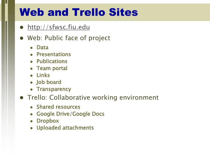 Web and trello sites