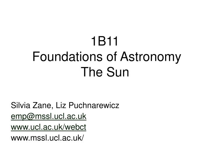 1b11 foundations of astronomy the sun