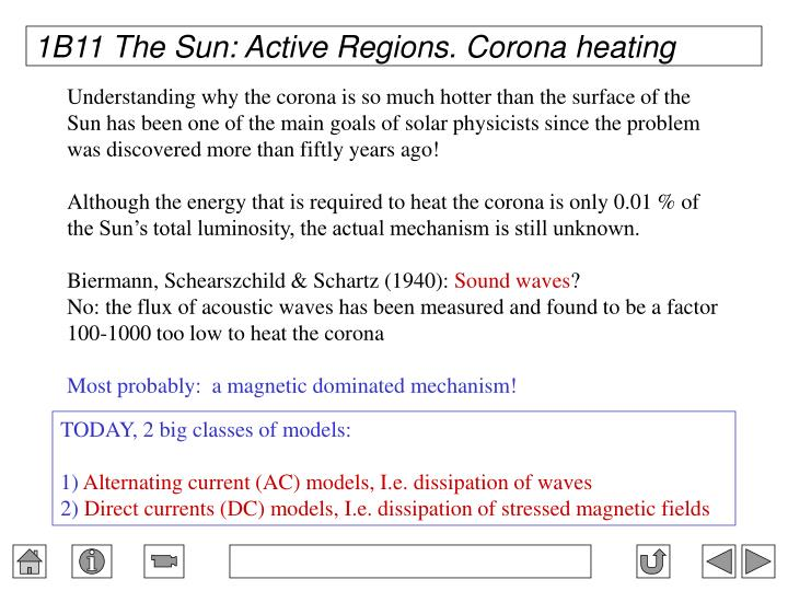 1B11 The Sun: Active Regions. Corona heating