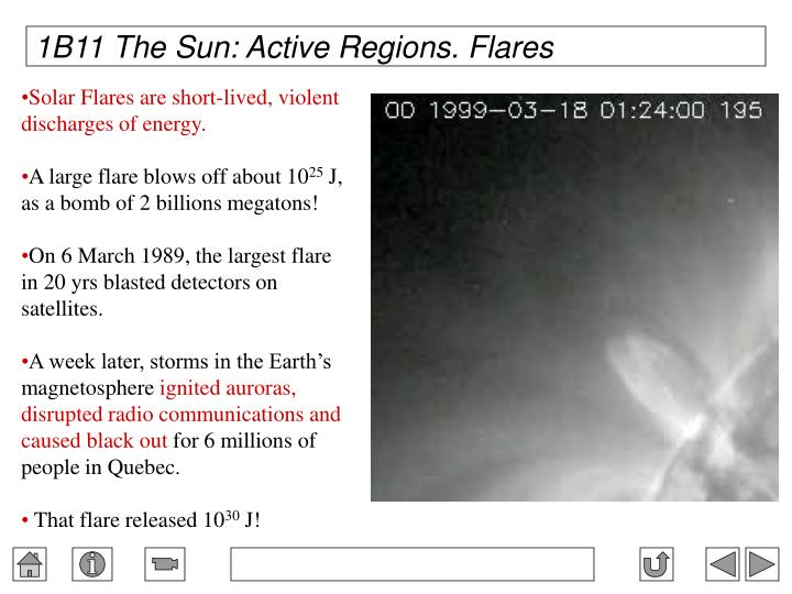 1B11 The Sun: Active Regions. Flares
