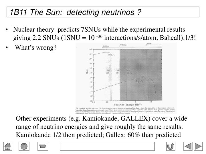 1B11 The Sun:  detecting neutrinos ?