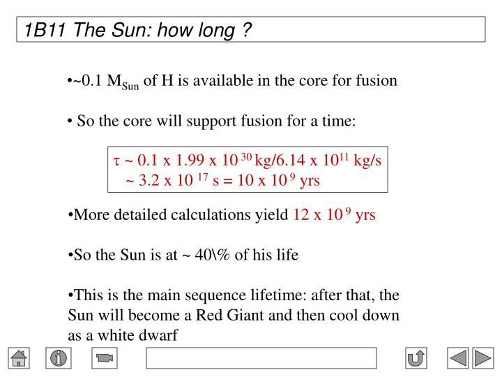 1B11 The Sun: how long ?