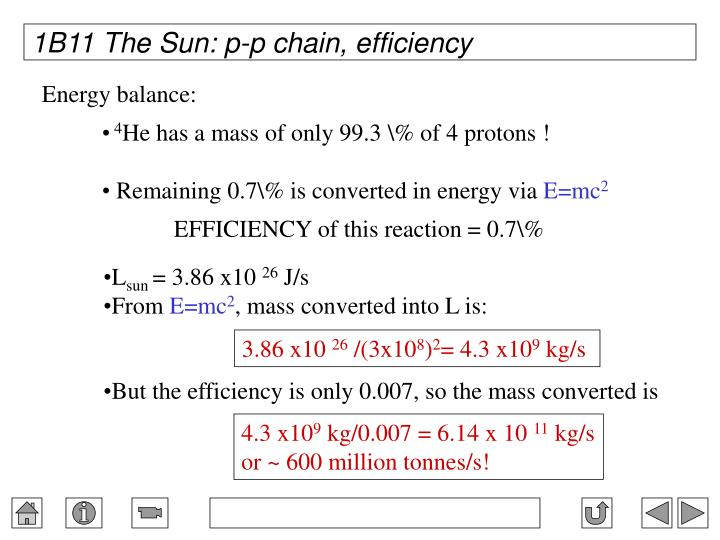 1B11 The Sun: p-p chain, efficiency
