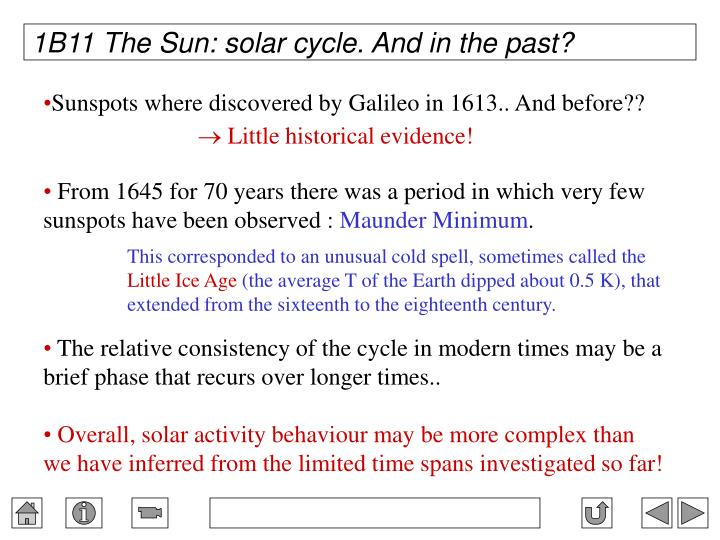 1B11 The Sun: solar cycle. And in the past?