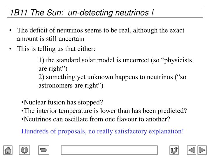 1B11 The Sun:  un-detecting neutrinos !
