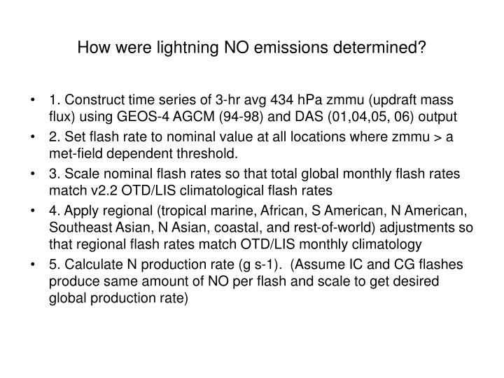 How were lightning no emissions determined