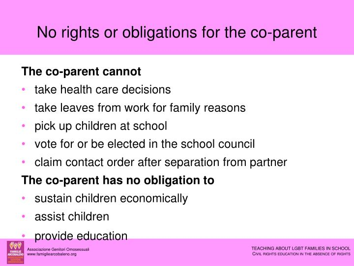No rights or obligations for the co-parent