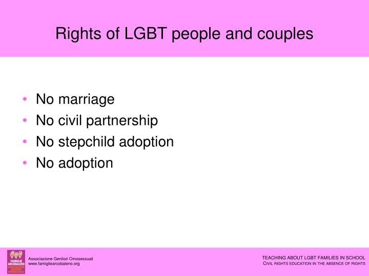 Rights of LGBT people and couples