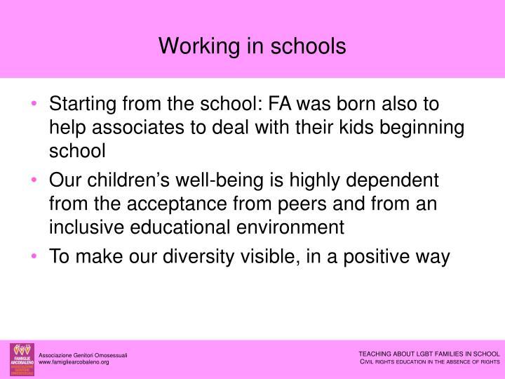 Working in schools