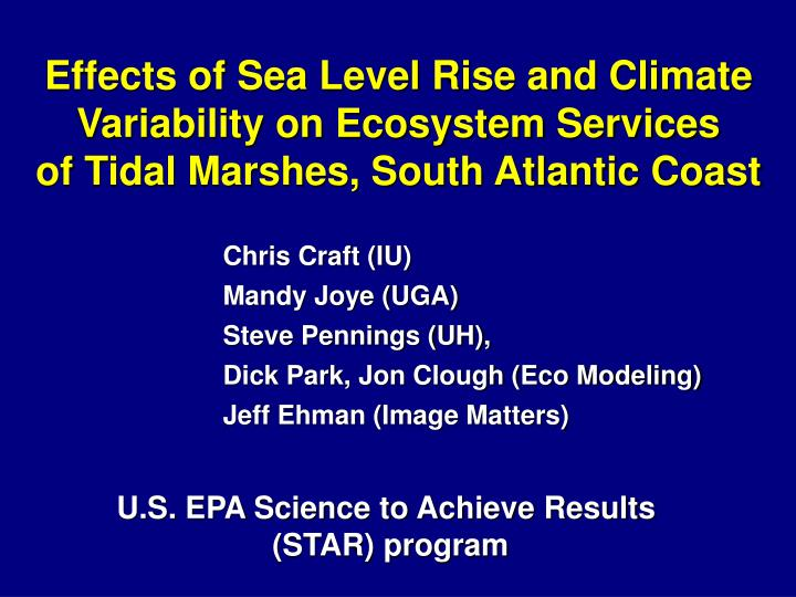 Effects of Sea Level Rise and Climate