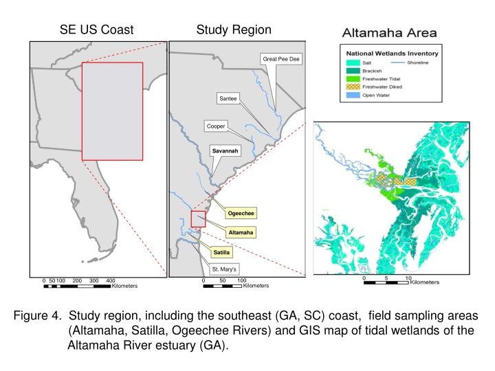 Figure 4.  Study region, including the southeast (GA, SC) coast,  field sampling areas