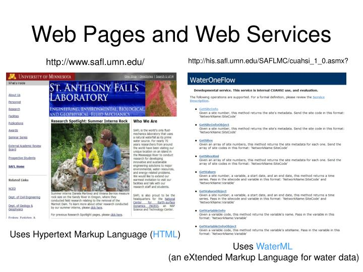 Web Pages and Web Services