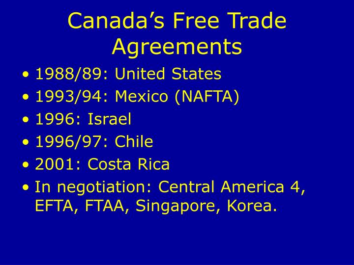 Canada's Free Trade Agreements