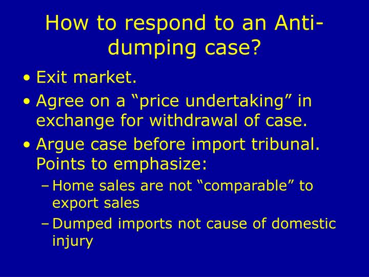 How to respond to an Anti-dumping case?