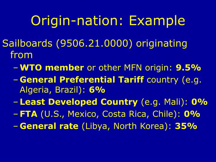 Origin-nation: Example