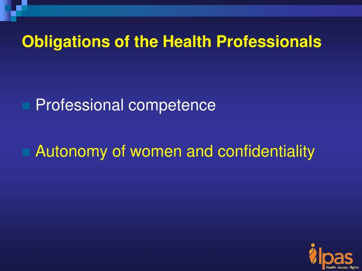 Obligations of the Health Professionals