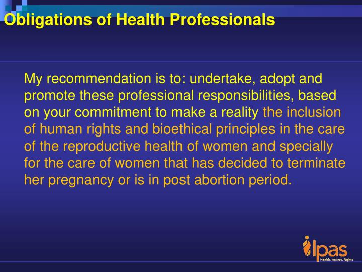 Obligations of Health Professionals