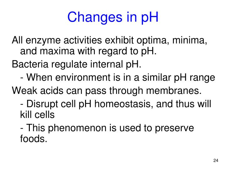 Changes in pH
