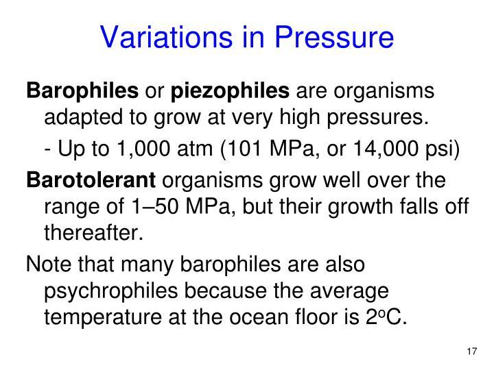 Variations in Pressure