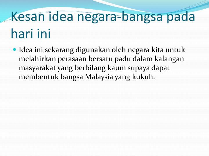 Kesan idea negara-bangsa pada hari ini