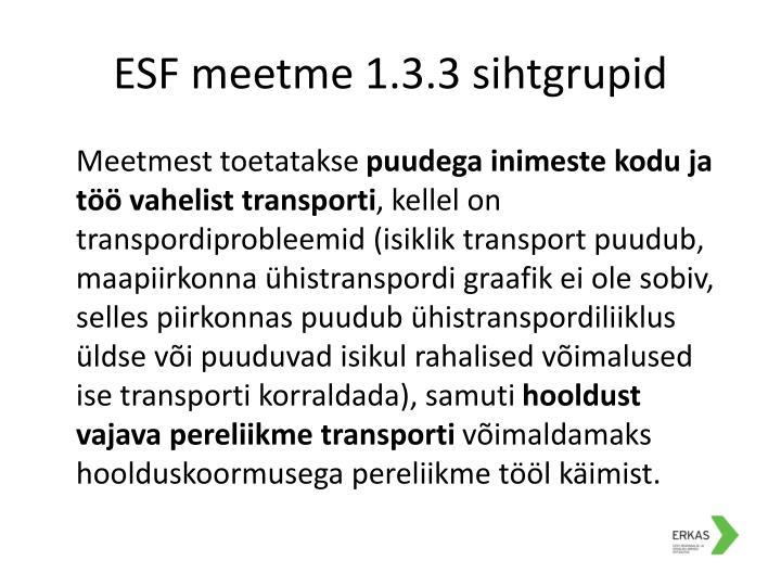 ESF meetme 1.3.3 sihtgrupid