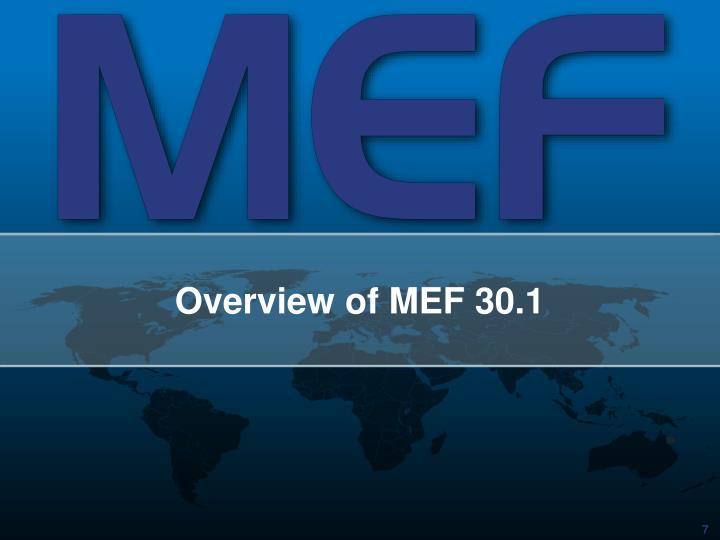 Overview of MEF 30.1