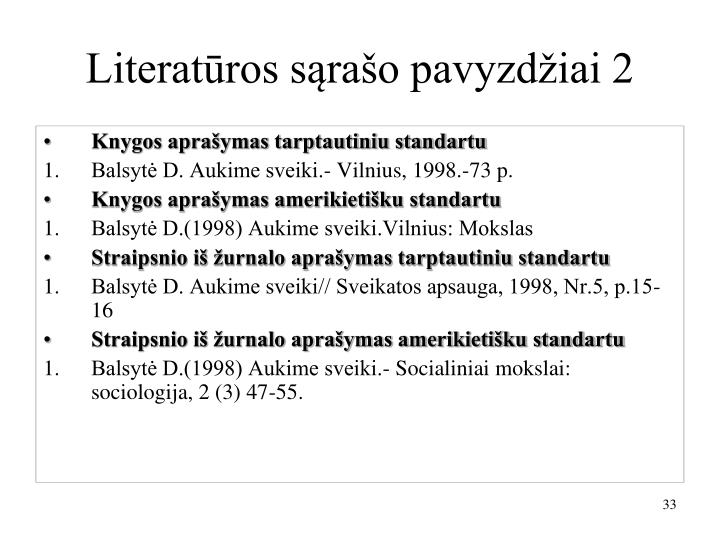 Literatūros sąrašo pavyzdžiai 2