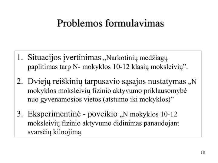 Problemos formulavimas