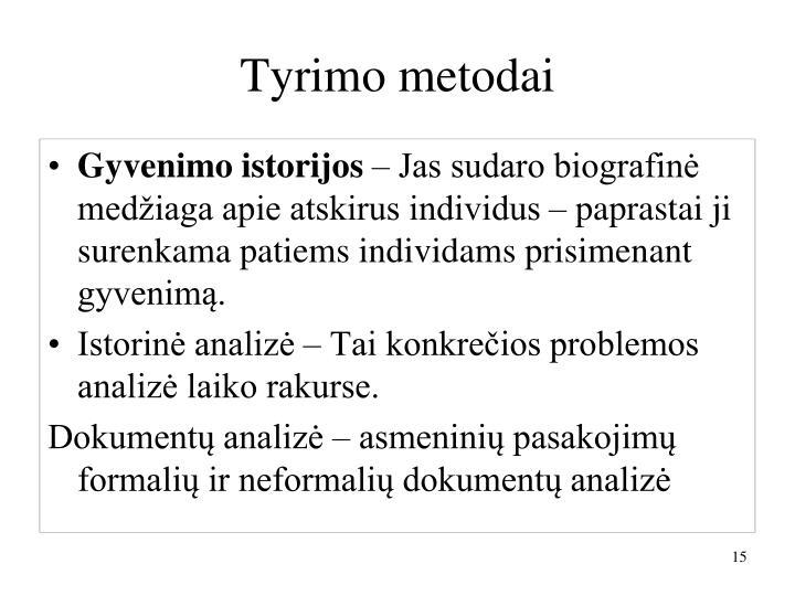 Tyrimo metodai