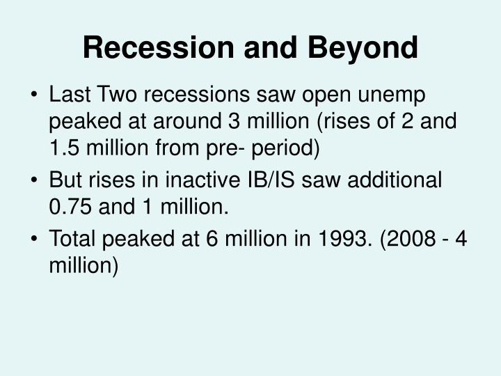 Recession and beyond