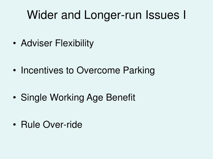 Wider and Longer-run Issues I
