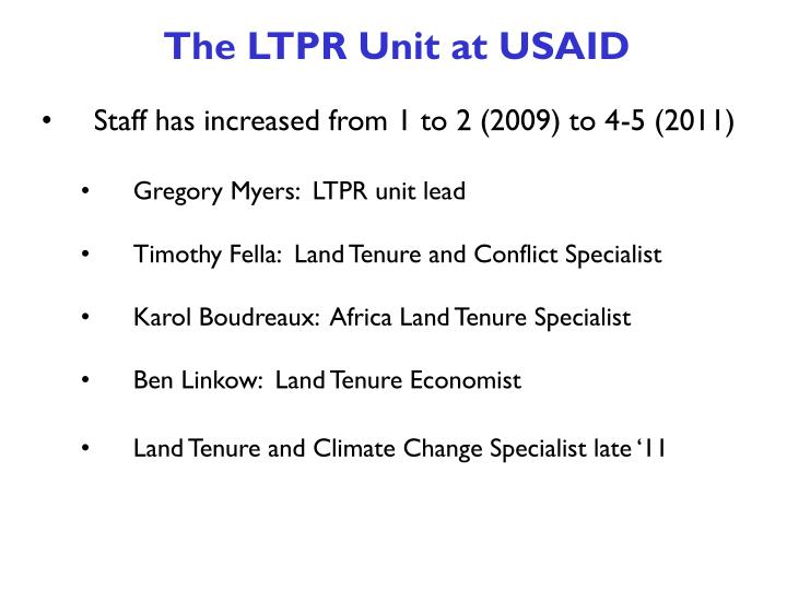 The LTPR Unit at USAID