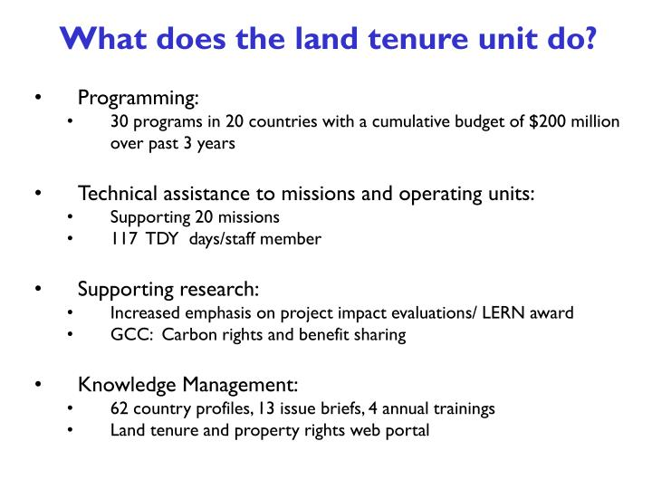 What does the land tenure unit do?