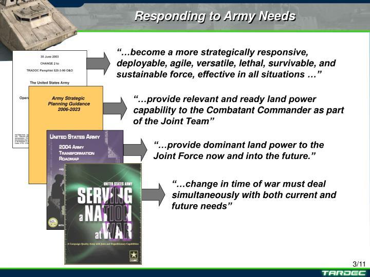 Responding to Army Needs
