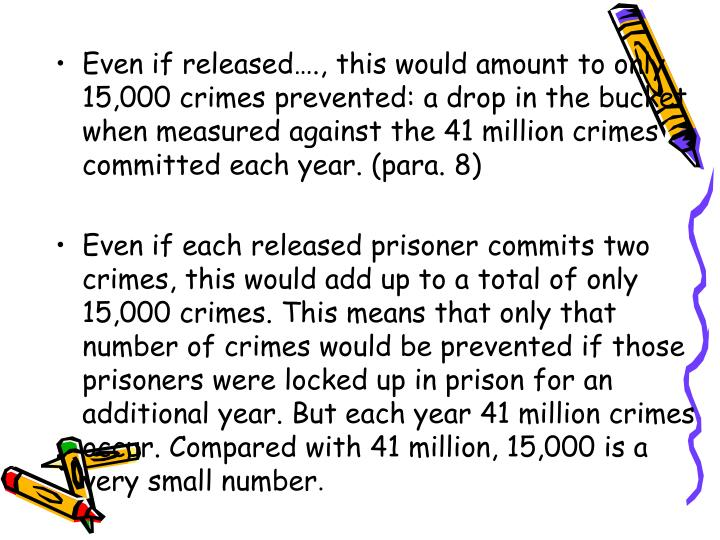 Even if released…., this would amount to only 15,000 crimes prevented: a drop in the bucket when measured against the 41 million crimes committed each year. (para. 8)