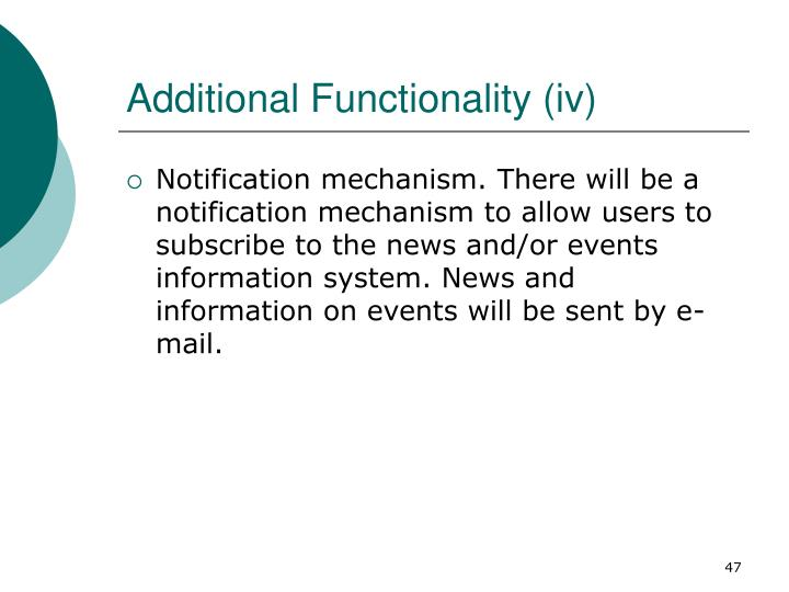 Additional Functionality (iv)