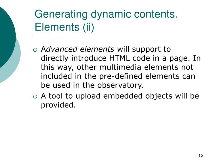 Generating dynamic contents. Elements (ii)