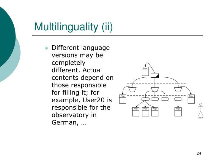 Multilinguality (ii)