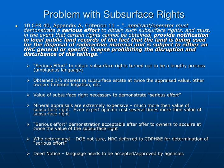 Problem with Subsurface Rights