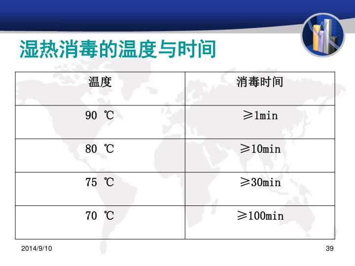 湿热消毒的温度与时间