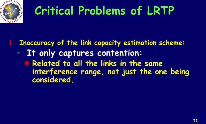 Critical Problems of LRTP