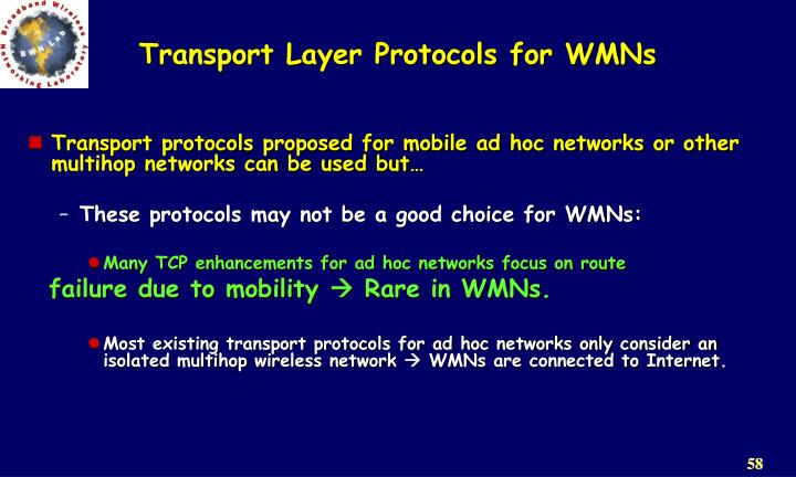 Transport Layer Protocols for WMNs