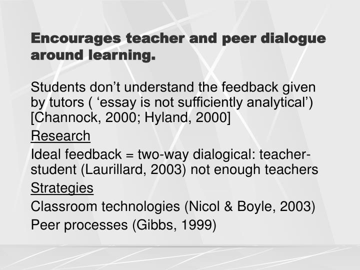 Encourages teacher and peer dialogue around learning.
