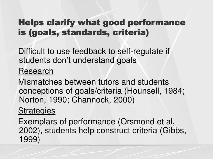 Helps clarify what good performance is (goals, standards, criteria)