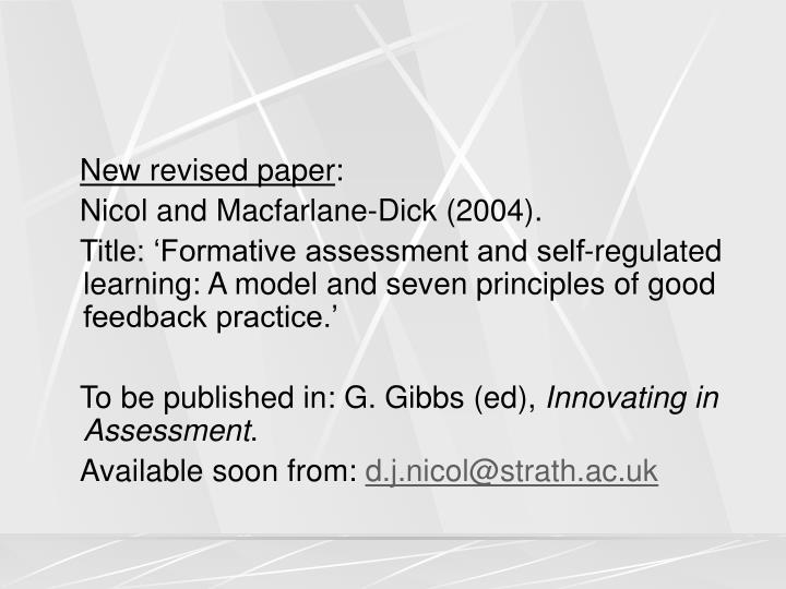 New revised paper