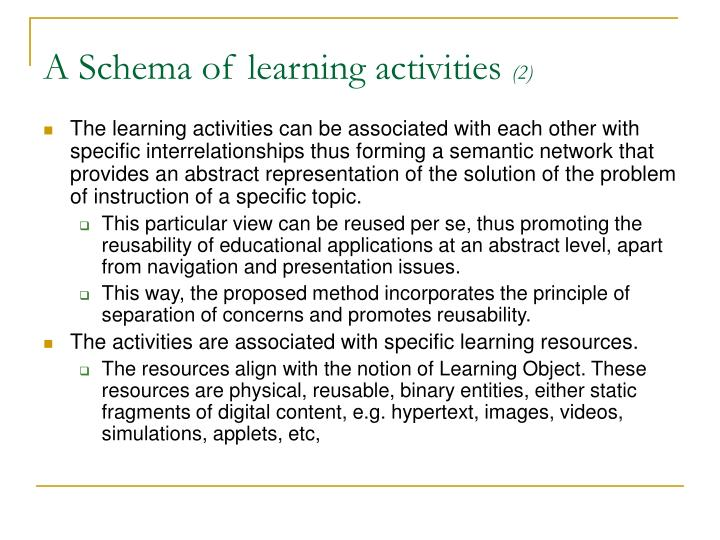 A Schema of learning activities