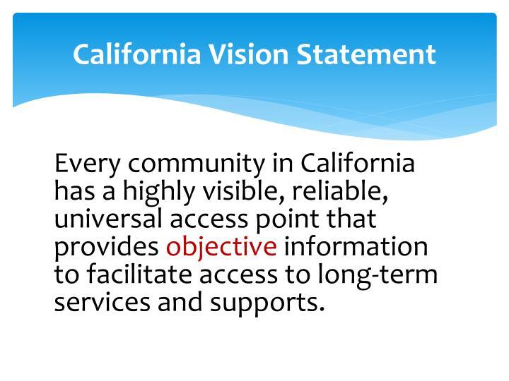 California Vision Statement