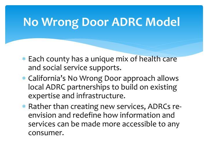 No Wrong Door ADRC Model