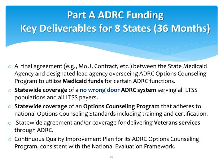 Part A ADRC Funding
